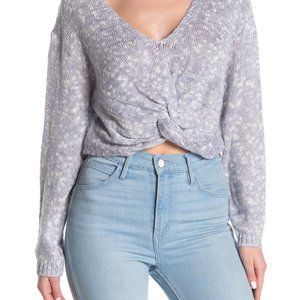 BCBgeneration Metallic Knit Twist Hem Sweater